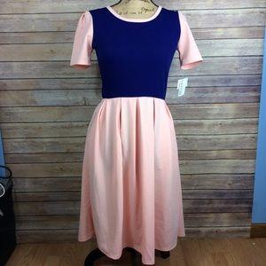 LuLaRoe pink and blue colorblock Amelia dress
